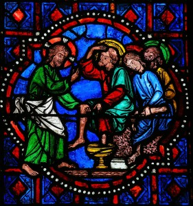 Jesus washing feet of Saint Peter on Maundy Thursday - Stained G