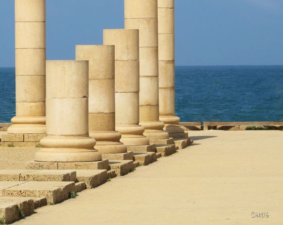 Caesarea Maritimes columns Meditteranean  crop ch IMG_7373